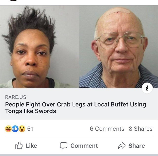 Face - i RARE.US People Fight Over Crab Legs at Local Buffet Using Tongs like Swords 6 Comments 8 Shares 51 Like Comment Share