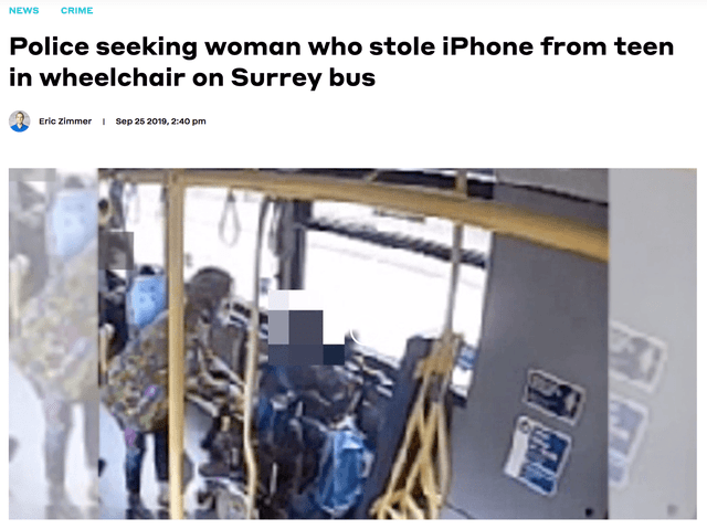 Text - NEWS CRIME Police seeking woman who stole iPhone from teen in wheelchair on Surrey bus Eric Zimmer Sep 25 2010, 2:40 pm