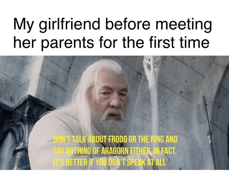 Text - My girlfriend before meeting her parents for the first time DON'T TALK ABOUT FRODO OR THE RING AND SAY NOTHING OF ARAGORN EITHER IN FACT, IT'S BETTER IF YOU DON'T SPEAK AT ALL