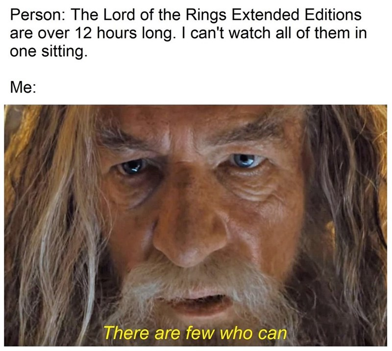 Hair - Person: The Lord of the Rings Extended Editions are over 12 hours long. I can't watch all of them in one sitting Ме: There are few who can