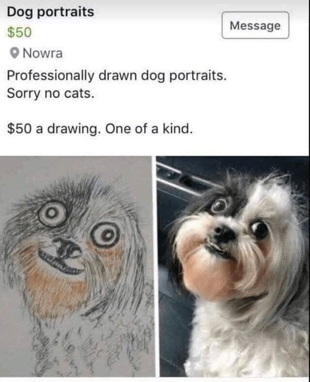 Dog - Dog portraits Message $50 Nowra Professionally drawn dog portraits. Sorry no cats. $50 a drawing. One of a kind.