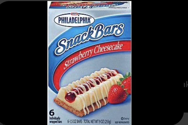 Food - PHILADELPHIA Snack Bars Strawberry Cheeseake 6 hdvidaly wapped bars 6-15028ARS TOTAL NETWT902/255 Coairy