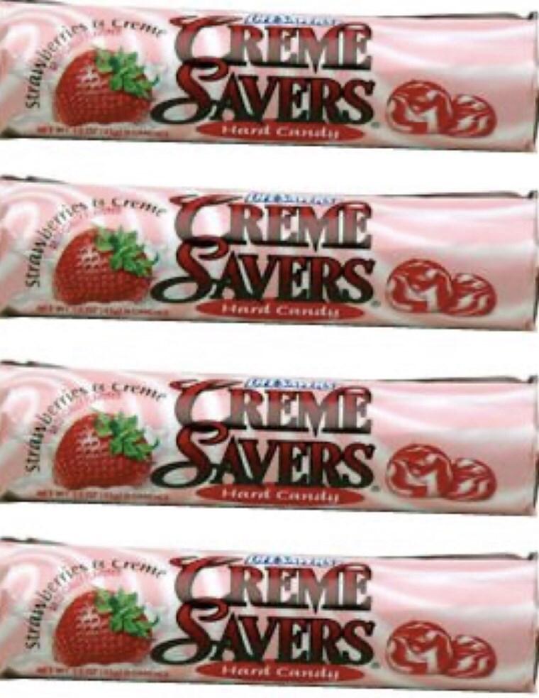 Strawberry - Greme CREME SAVERS Nherries Hard Candus CREME SAVERS &D remte Hard Car rem REME SAVERS Hand Candy Sreme CREME SAVERS Hant Cady Swaiwberris