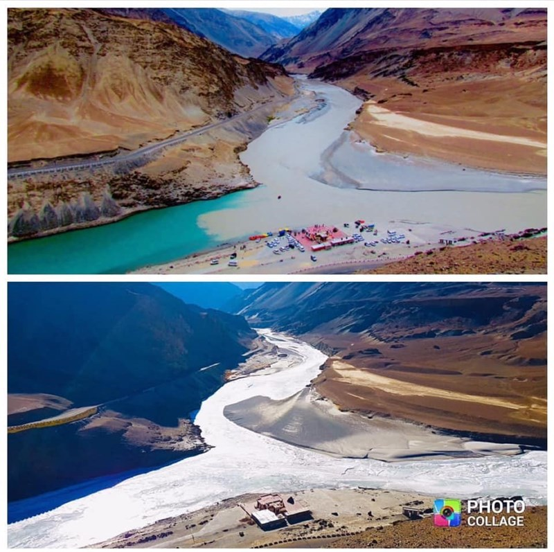 two photos different seasons of river confluence in himalayas india