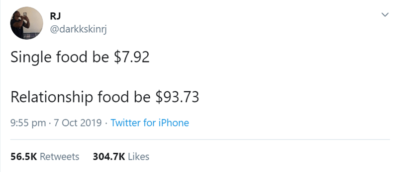 Text - RJ @darkkskinrj Single food be $7.92 Relationship food be $93.73 9:55 pm 7 Oct 2019 Twitter for iPhone 304.7K Likes 56.5K Retweets
