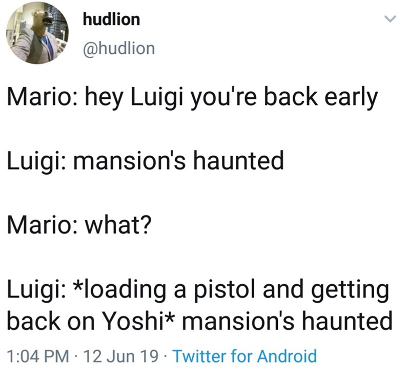 Text - hudlion @hudlion Mario: hey Luigi you're back early Luigi: mansion's haunted Mario: what? Luigi: *loading a pistol and getting back on Yoshi* mansion's haunted 1:04 PM 12 Jun 19 Twitter for Android