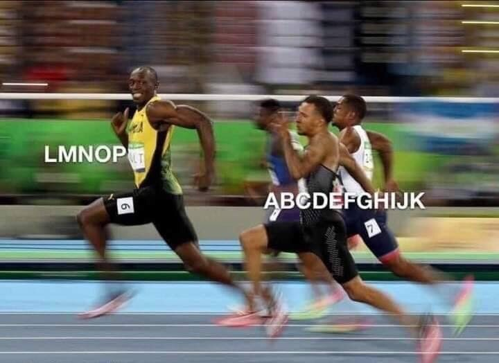 "Funny meme where Usain Bolt is running in a race and represents ""LMNOP,"" followed by other runners who represent ""ABCDEFGHIJK"""