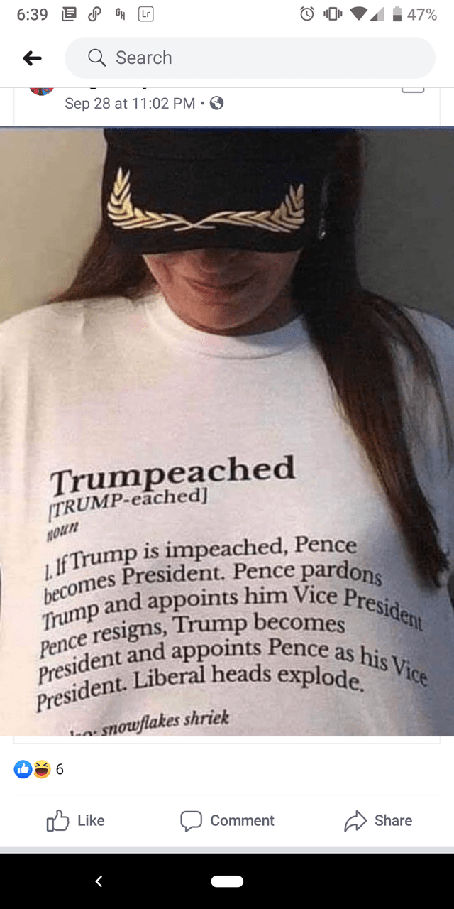 Text - 6:39 GH Lr 47% Search Sep 28 at 11:02 PM Trumpeached TRUMP-eached] nou If Trump is impeached, Pence becomes President. Pence pardons Trump and appoints him Vice President Pence resigns, Trrump becomes President and appoints Pence as his Vice President. Liberal heads explode ta Snowflakes shriek 9 לן Like Comment Share