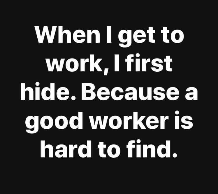 Text - When I get to work, I first hide. Because a good worker is hard to find.