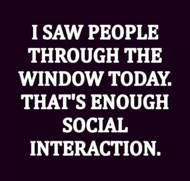 Text - I SAW PEOPLE THROUGH THE WINDOW TODAY THAT'S ENOUGH SOCIAL INTERACTION.