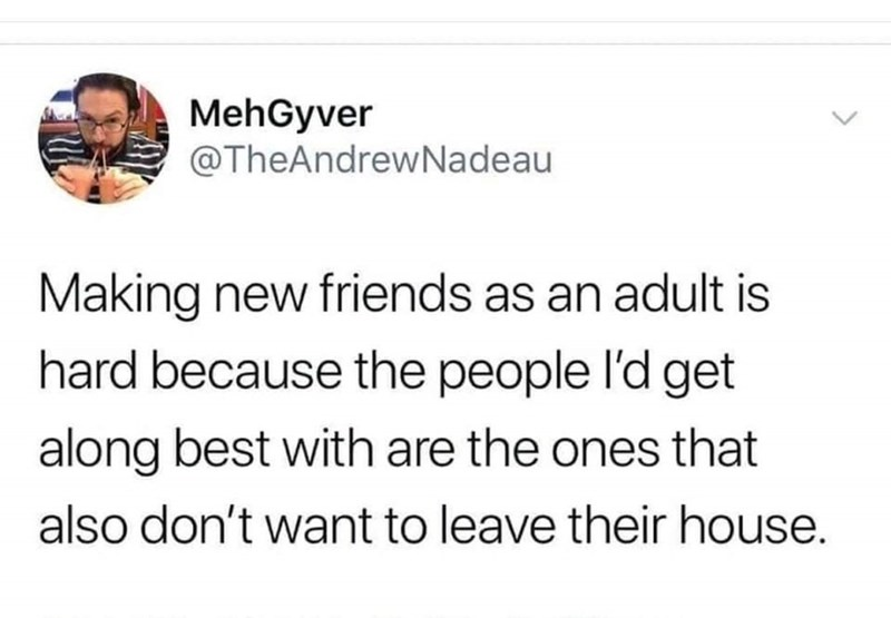 Text - MehGyver @TheAndrewNadeau Making new friends as an adult is hard because the people l'd get along best with are the ones that also don't want to leave their house.