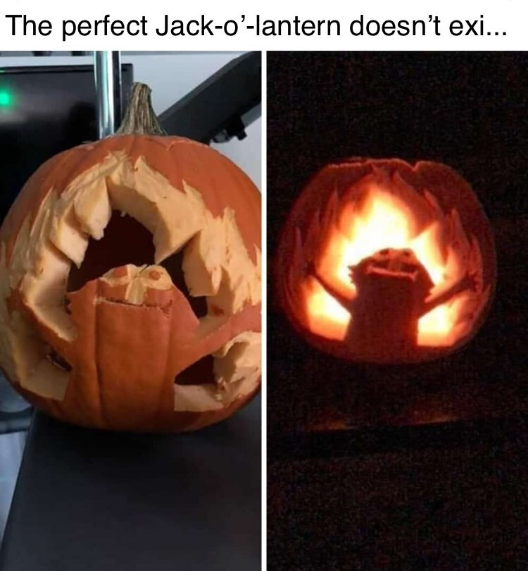 "Funny meme that reads, ""The perfect jack o' lantern doesn't exi-"" above images of a pumpkin carved with Elmo with fire behind him"