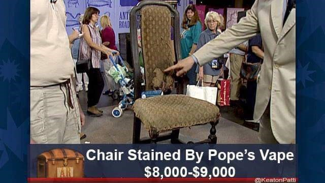Adaptation - ANT ROAD Chair Stained By Pope's Vape $8,000-$9,000 KeatonPatti
