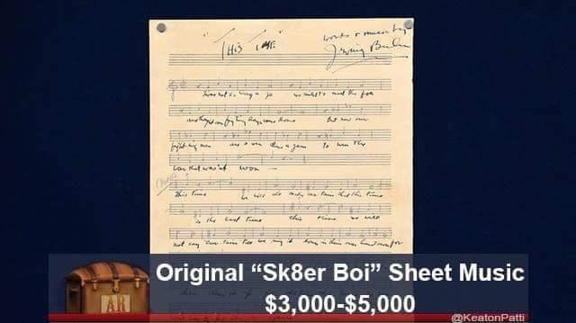 "Text - f i s Original ""Sk8er Boi"" Sheet Music $3,000-$5,000 AR KeatonPatti"