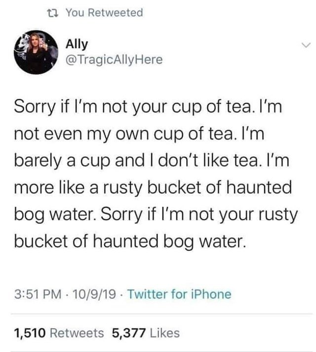 Text - ta You Retweeted Ally @TragicAllyHere Sorry if I'm not your cup of tea. I'm not even my own cup of tea. I'm barely a cup and I don't like tea. I'm more like a rusty bucket of haunted bog water. Sorry if I'm not your rusty bucket of haunted bog water. 3:51 PM 10/9/19 Twitter for iPhone 1,510 Retweets 5,377 Likes