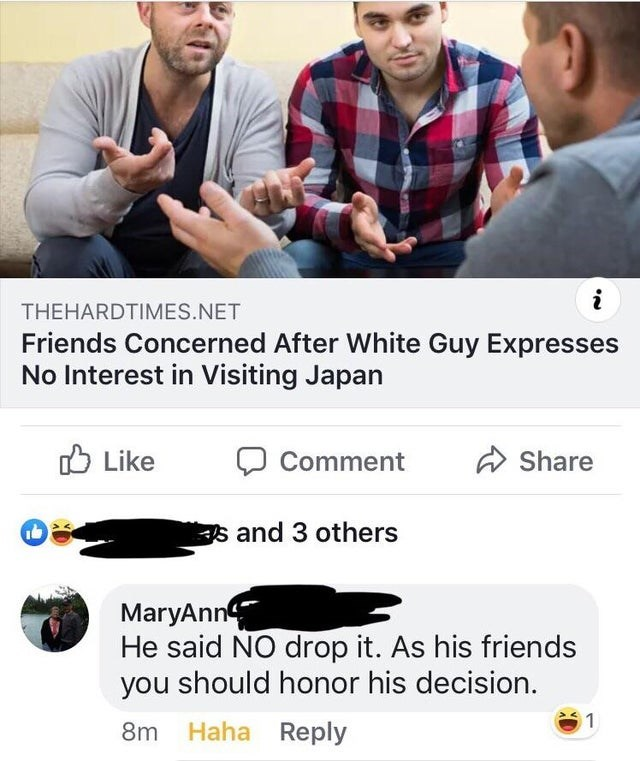 Product - i THEHARDTIMES.NET Friends Concerned After White Guy Expresses No Interest in Visiting Japan Like Share Comment s and 3 others MaryAnn He said NO drop it. As his friends you should honor his decision 1 Haha Reply 8m