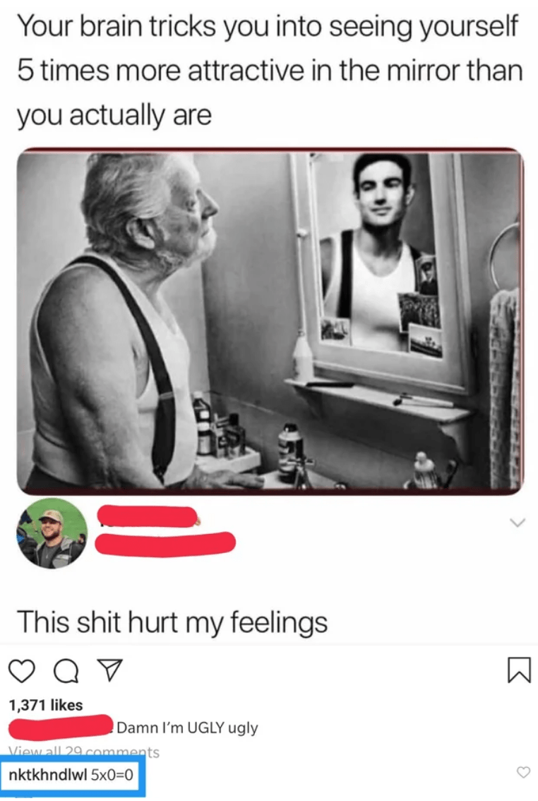 Text - Your brain tricks you into seeing yourself 5 times more attractive in the mirror than you actually are This shit hurt my feelings 1,371 likes Damn I'm UGLY ugly View all 29comments nktkhndlwl 5x0=0