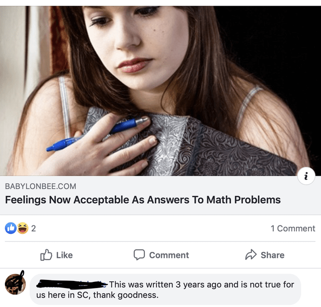 Product - BABYLONBEE.COM Feelings Now Acceptable As Answers To Math Problems 2 1 Comment Like Share Comment This was written 3 years ago and is not true for us here in SC, thank goodness