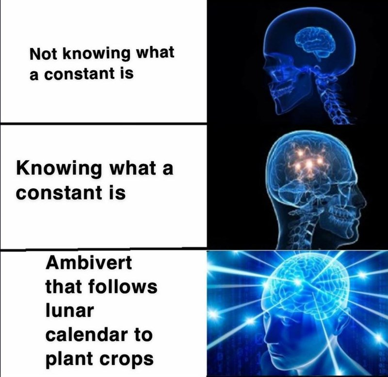 Medical imaging - Not knowing what a constant is Knowing what a constant is Ambivert that follows lunar calendar to plant crops