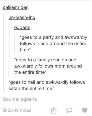 """Text - calliestrider: un-leash-ing: egberts: """"goes to a party and awkwardly follows friend around the entire time """"goes to a family reunion and awkwardly follows mom around the entire time """"goes to hell and awkwardly follows satan the entire time Source: egberts 862,649 notes 11"""