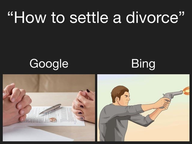 """Text - """"How to settle a divorce"""" Google Bing"""
