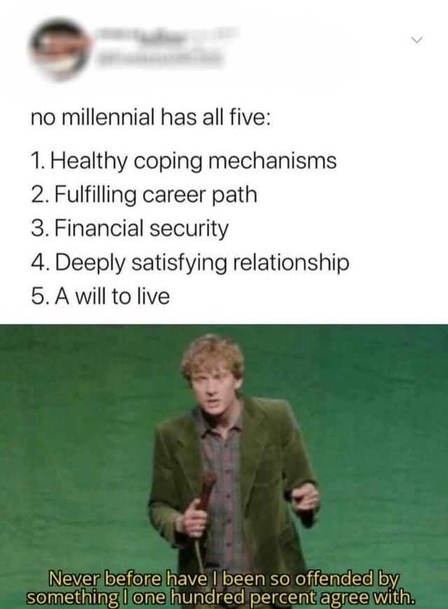 "Funny tweet tat reads, ""no millennial has all five: 1. Healthy coping mechanisms; 2. Fulfilling career path; 3. Financial security; 4. Deeply satisfying relationship; 5. A will to live"" above a still of a comedian saying, ""Never before have l been so offended by something I one hundred percent agree with."""