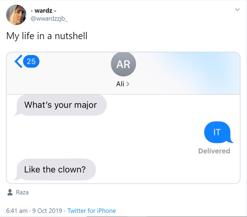 Text - - wardz - @wwardzzjb_ My life in a nutshell 25 AR Ali> What's your major IT Delivered Like the clown? Raza 6:41 am-9 Oct 2019 Twitter for iPhone