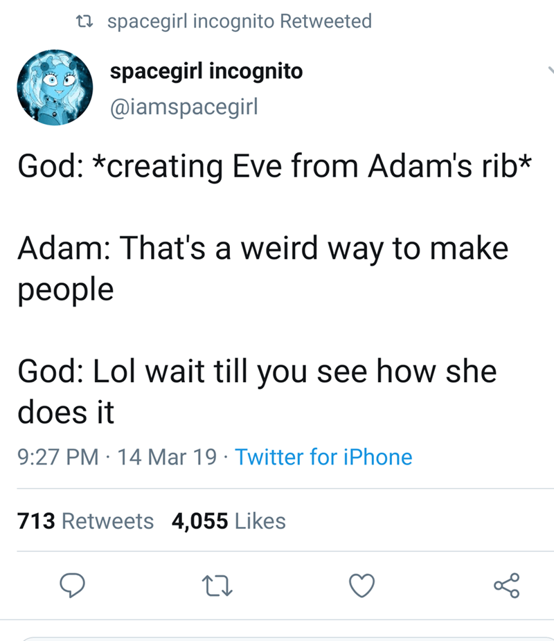 Text - t spacegirl incognito Retweeted spacegirl incognito @iamspacegirl God: *creating Eve from Adam's rib* Adam: That's a weird way to make реople God: Lol wait till you see how she does it 9:27 PM 14 Mar 19 Twitter for iPhone . 713 Retweets 4,055 Likes