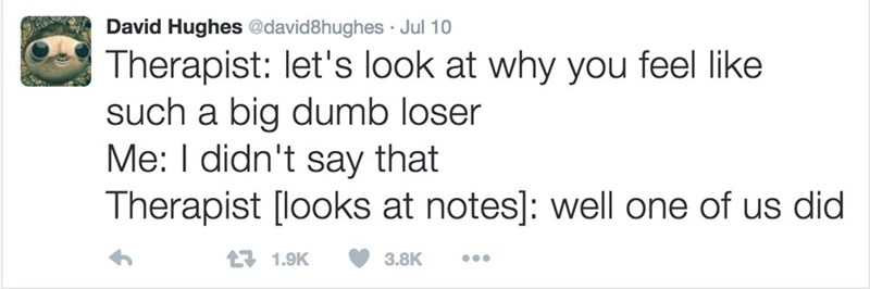 Text - David Hughes@david8hughes Jul 10 Therapist: let's look at why you feel like such a big dumb loser Me: I didn't say that Therapist [looks at notes]: well one of us did 171.9K 3.8K