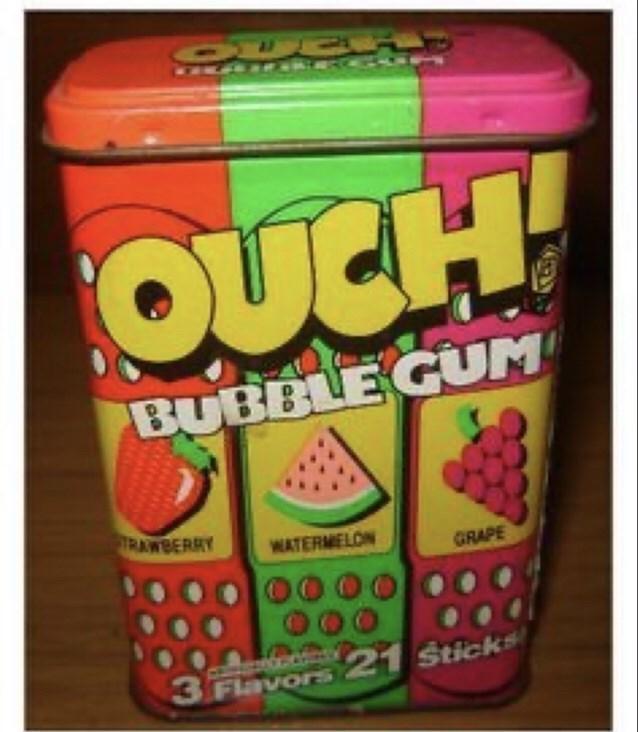 Snack - OER1 OUCH! BUBBLE GUM TRAWBERRY WATERMELON GRAPE 3 21 Sticks Flavors