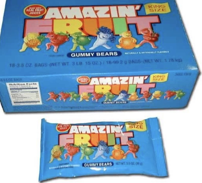 Toy - AMAZINY KING SIZE JUICES GUMMY BEARS 18-3.5 02 BAGS-(NET WT 3 LB 15 02)/ 18-99 2 0 BAGS-(NET WT 1 78 kg) HATURALY&ANTILLY FLAYORL 00 O AMAZIN KING SIZE Hutrition Facts QUMMY BEARS G AMAZINA SIZE FR GUMMY BEARS NETW 35020