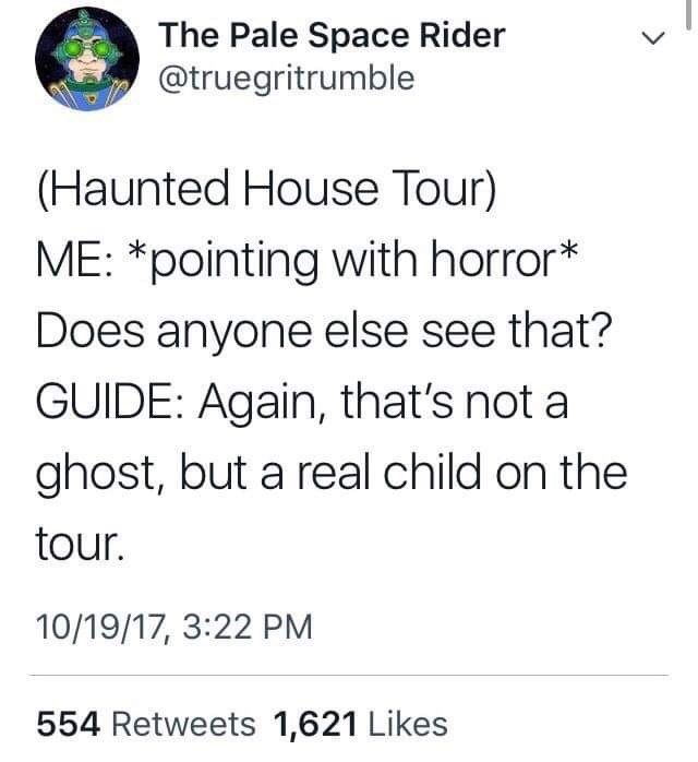 Text - The Pale Space Rider @truegritrumble LL (Haunted House Tour) ME: *pointing with horror* Does anyone else see that? GUIDE: Again, that's not a ghost, but a real child on the tour. 10/19/17, 3:22 PM 554 Retweets 1,621 Likes