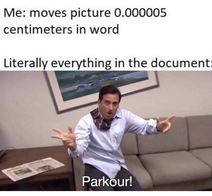 Text - Me: moves picture 0.000005 centimeters in word Literally everything in the document: Parkour!