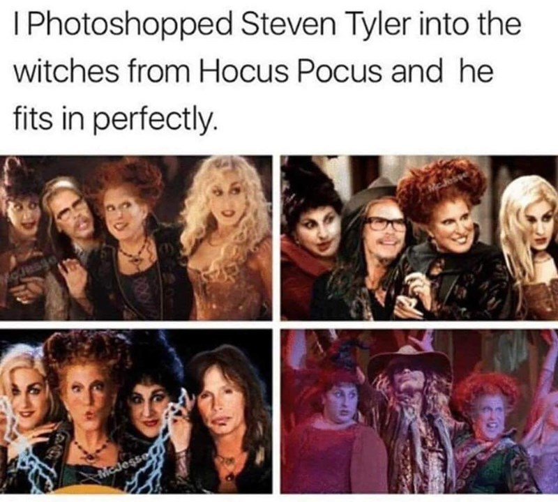 Hair - I Photoshopped Steven Tyler into the witches from Hocus Pocus and he fits in perfectly. MOesse MCJesse