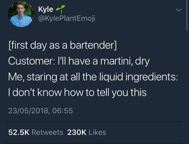 Text - Kyle @KylePlantEmoji [first day as a bartender] Customer: I'll have a martini, dry Me, staring at all the liquid ingredients: I don't know how to tell you this 23/05/2018, 06:55 52.5K Retweets 230K Likes
