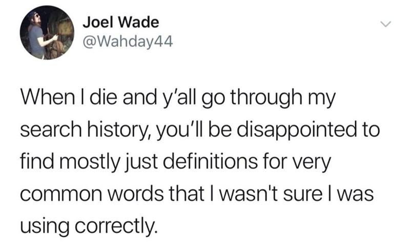 Text - Joel Wade @Wahday44 When I die and y'all go through my search history, you'll be disappointed to find mostly just definitions for very common words that I wasn't sure I was using correctly.
