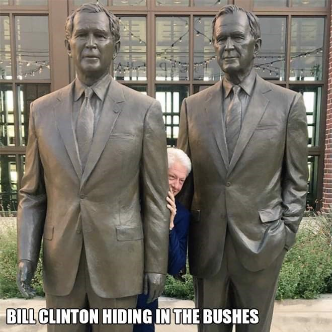 Text - Statue - BILL CLINTON HIDING IN THE BUSHES