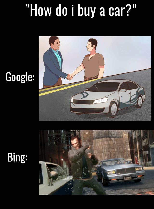"Vehicle - ""How do i buy a car?"" Google: Bing:"