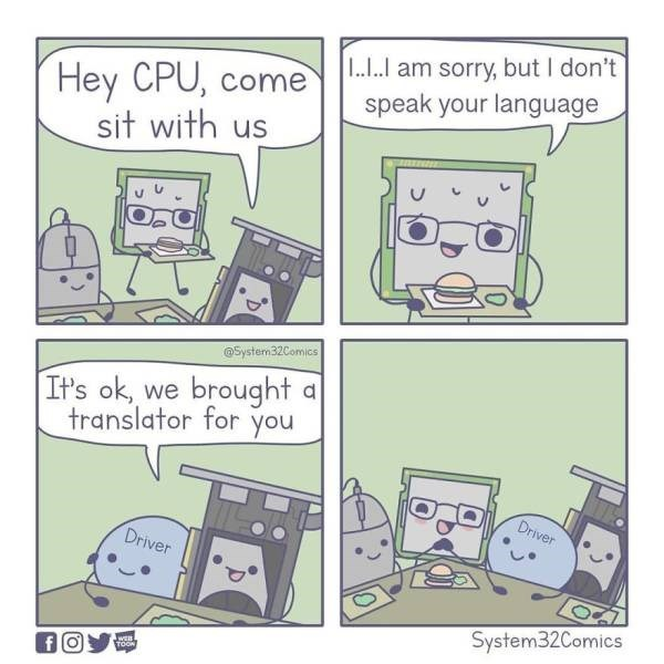 Text - I..I.I am sorry, but I don't speak your language Hey CPU, come sit with us डेन System32Comics It's ok, we brought a you translator for Driver Driver System32Comics fO TOON