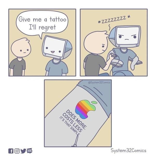 Text - ZZZZZZZZ Give me a tattoo I'll regret System32Cemics DOES MORE COSTS LESS IT'S THAT SIMPLE System32Comics WEB TOON fO