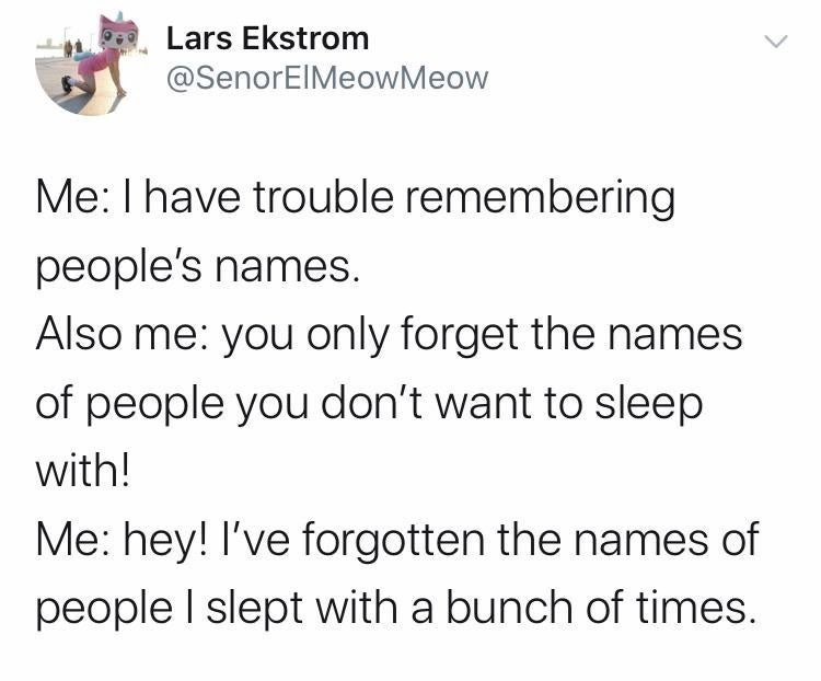 Text - Lars Ekstrom @SenorElMeowMeow Me: I have trouble remembering people's names. Also me: you only forget the names of people you don't want to sleep with! Me: hey! I've forgotten the names of people I slept with a bunch of times