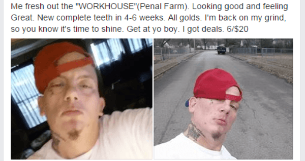 """Face - Me fresh out the """"WORKHOUSE""""(Penal Farm). Looking good and feeling Great. New complete teeth in 4-6 weeks. All golds. I'm back on my grind, so you know it's time to shine. Get at yo boy. I got deals. 6/$20"""