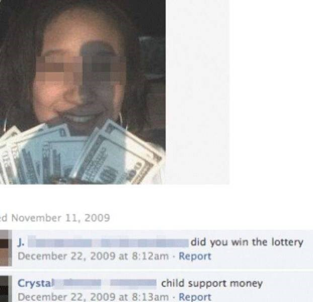 Text - November 11, 2009 did you win the lottery J. December 22, 2009 at 8:12am Report Crystal December 22, 2009 at 8:13am Report child support money