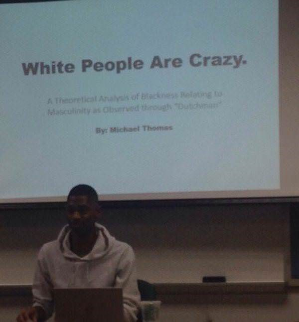 Presentation - White People Are Crazy. A Theoretical Analysis of Masculinity as Observedt Bune By: Michael Thomas