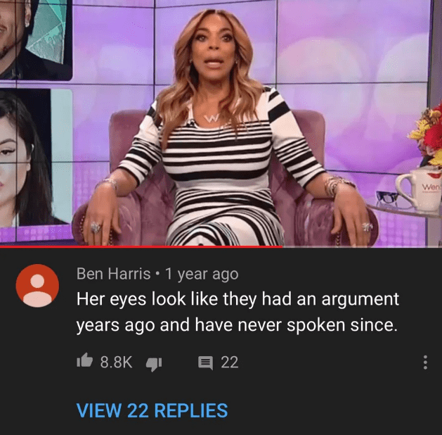 Television program - Wen Ben Harris 1 year ago Her eyes look like they had an argument years ago and have never spoken since. 8.8K 目22 VIEW 22 REPLIES