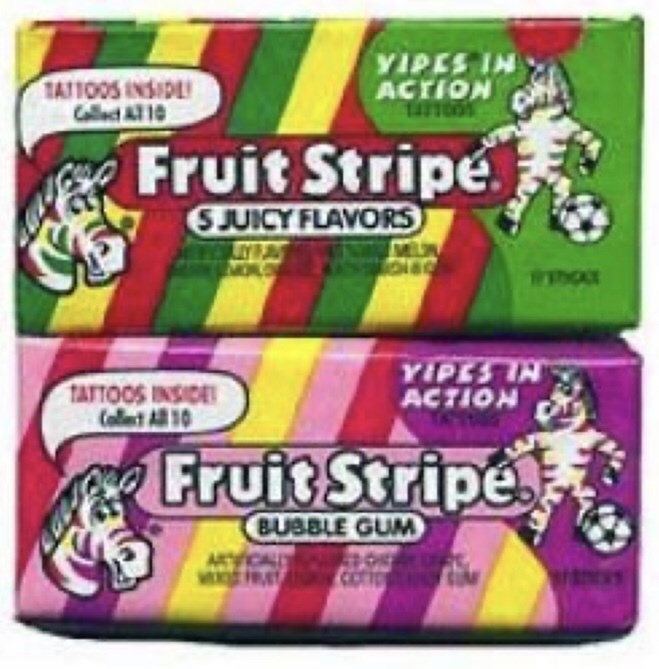 VIPES IN ACTION TAITOOS INSIDE Cllect AT 10 Fruit Stripe SJUICY FLAVORS YIPES IN ACTION TATTOOS INSIDE Collest All 0 Fruit Stripe BUBBLE GUM