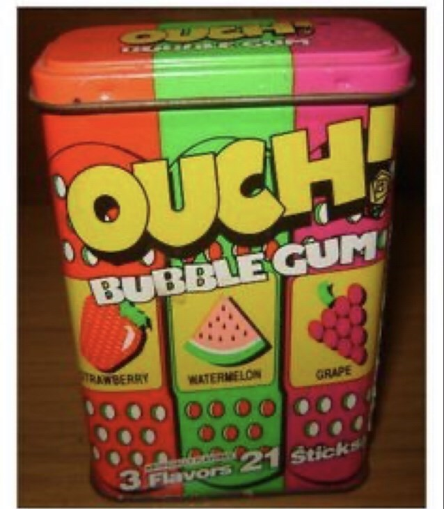 Snack - OER1 OUCH! BUBBLE GUM TRAWBERRY WATERMELON GRAPE 3 21 Sticks Flavors