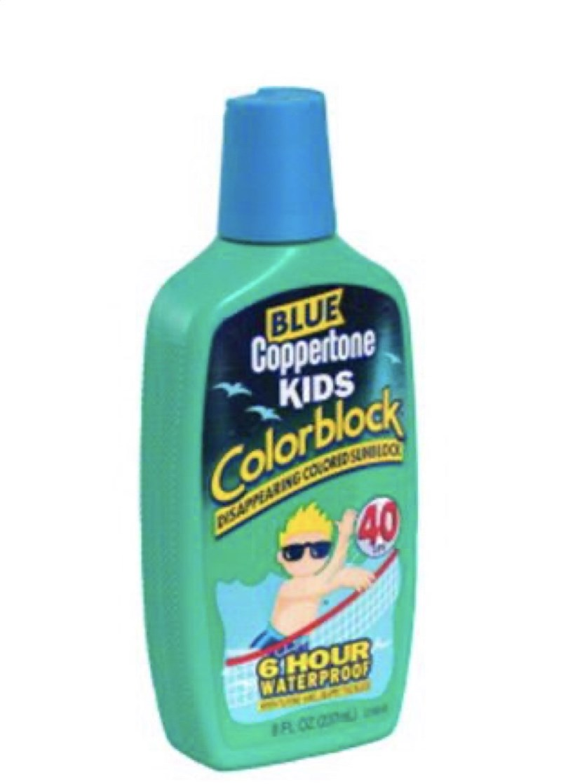 Product - BLUE Coppertone KIDS Colorblock 40 ISAIPPEARING COUCHID SUD 6 HOUR WATERPROOF