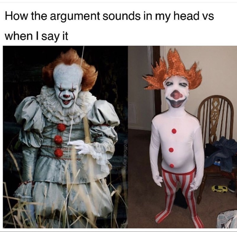 Performing arts - How the argument sounds in my head vs when I say it @official