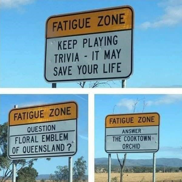 Street sign - FATIGUE ZONE KEEP PLAYING TRIVIA IT MAY SAVE YOUR LIFE FATIGUE ZONE FATIGUE ZONE QUESTION FLORAL EMBLEM OF QUEENSLAND ? ANSWER THE COOKTOWN ORCHID